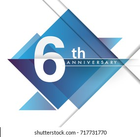 6th years anniversary logo, vector design birthday celebration with geometric isolated on white background.