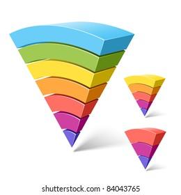 7, 5 and 3-layered segments. Vector.