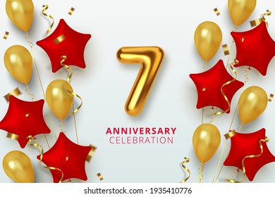 7 Anniversary celebration Number in the form star of golden and red balloons. Realistic 3d gold numbers and sparkling confetti, serpentine. Vector illustration.
