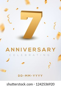 7 Anniversary gold numbers with golden confetti. Celebration 7th anniversary event party template.