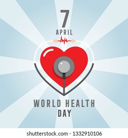 7 April world health day concept vector illustration. Man and Woman doctor in front of the hearth and stethoscope.