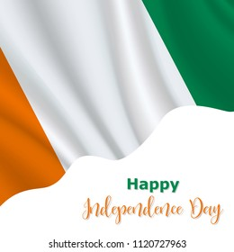 7 August, Cote Divoire Independence Day background in national flag color theme. Cote Divoire National Day. Celebration banner with waving flag. Vector illustration