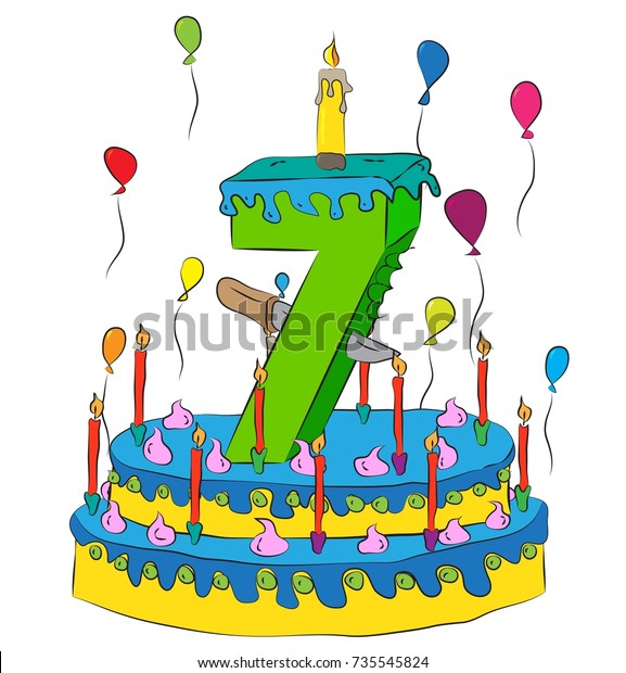 Swell 7 Birthday Cake Number Seven Candle Stock Vector Royalty Free Funny Birthday Cards Online Alyptdamsfinfo