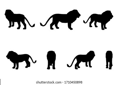 7 black and white set vector lion silhouette isolated on white background