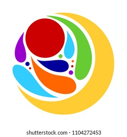7 chakra color abstract symbol logo icon sign vector illustration design