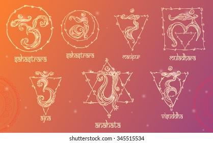 7 Chakras: muladhara, sahasrara, ajna, vishuddha, anahata, manipura, svadhishana. Set Chakra made in vector. The concept of chakras Hinduism, Buddhism, the occult variety of systems and Ayurveda