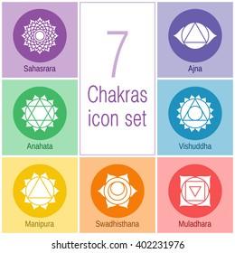 7 chakras, set of icons