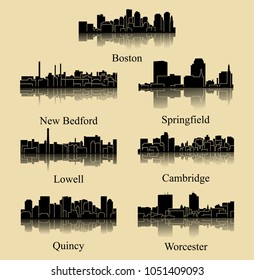 7 City Silhouette in Massachusetts ( Boston, New Bedford, Springfield, Lowell, Quincy, Worcester, Cambridge )