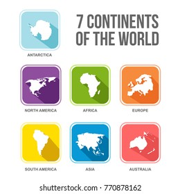 7 continents of the world flat vector illustration