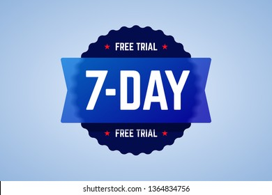 The 7 days free trial emblem. It can be used for application, software promotions for free downloads. Round vector badge with blur glass effect.