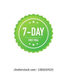 7 days free trial label, badge, sticker. Software promotions for free downloads. It can be used for application. Vector stock illustration.