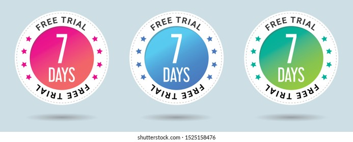 7 Days Free Trial stamp vector illustration. Vector certificate icon. Set of 3 beautiful color gradients. Vector combination for certificate in flat style.