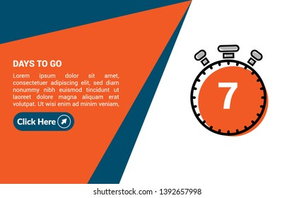7 days to go banner. flat style. days to go concept.