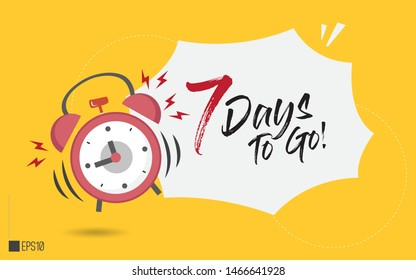 7 days to go last countdown illustration. Seven day go sale price offer promo deal timer, 7 day only. Flat-lay design, Eps 10