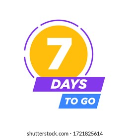 7 days to go last countdown icon. Seven day go sale price offer promo deal timer, 7 day only  vector illustration eps 10