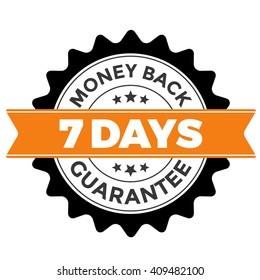 7 Days Money Back Guarantee Badge Vector Circular Orange Round Graphic With Ribbon