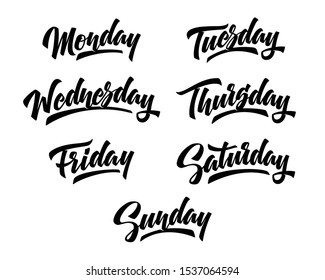 7 Days of the week. Hand drawn lettering for planners, schedule, weekly calendars. Vector illustration.