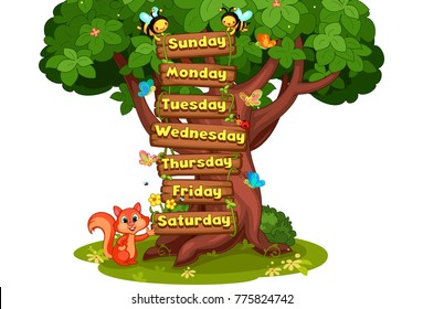 7 days of the week written on wooden planks hold by honey bees cartoon vector illustration