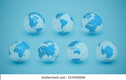 7 different agles of the Earth for 7 continents, vector illustration