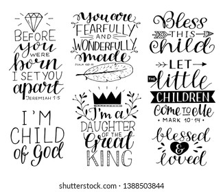 7 hand-lettering motivational bible quotes for kids I m child of God, Blessed and loved. Christian poster. Scripture print.