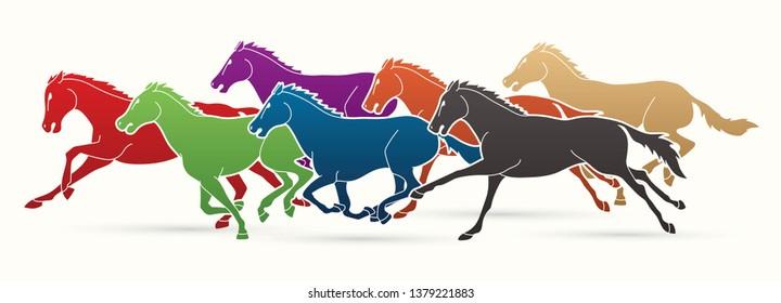 7 Horses running cartoon graphic vector