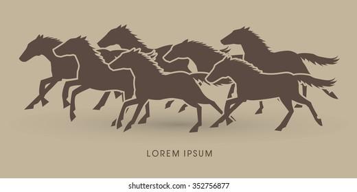 7 horses running graphic vector.