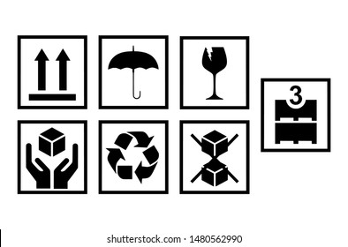7 Important shipping symbols on the package, This side up, Keep Dry, Fragile, Handle with care, Re-use, Do not stack, Max..Layer.