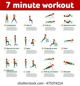 7 minute workout. Fitness, Aerobic  and workout exercise in gym. Vector set of gym icons in flat style isolated on white background. People in gym. Gym equipment, dumbbell, weights, treadmill, ball.