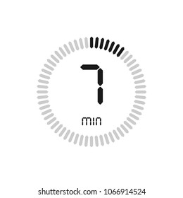 The 7 minutes, stopwatch vector icon, digital timer. clock and watch, timer, countdown symbol.
