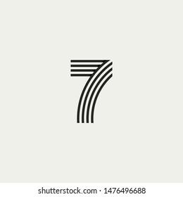 7 monogram. Abstract letter 7 logo design. Line creative symbol. Logo branding. Universal vector icon - Vector