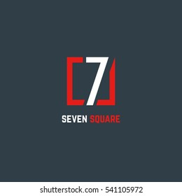 7 Number logo design vector element