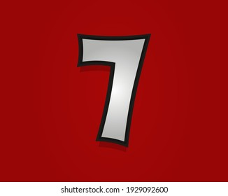 7 number Rock and Roll font. Classic, retro vintage 1970s design. Vector font for rock music poster, vintage label and more