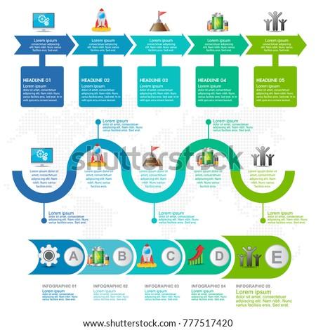 7 Parts Infographic Flow Chart Marketing Stock Vektorgrafik
