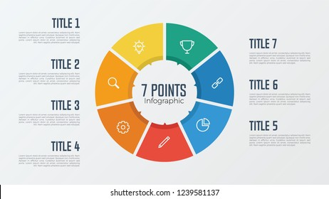 7 points, options, parts, processes, work flowsteps, steps infographic element circle shaped vector. business presentation template.