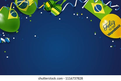 7 September Brazil Happy Independence Day greeting card.  Festive frame flat lay.  Vector illustration