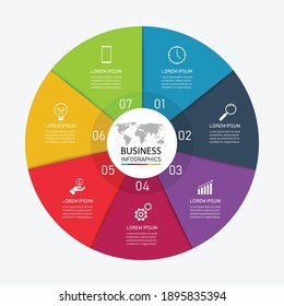 7 steps business infographic with icon for the presentation. can be used for process, presentations, layout, banner,infographic. vector illustration in flat style modern design.