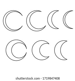 7 vector moon shapes. Editable stroke. Eps 10