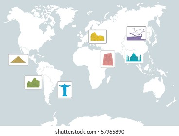 7 wonders on the world map
