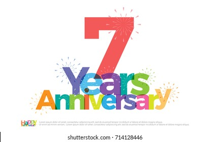 7 years anniversary celebration colorful logo with fireworks on white background. 7th anniversary logotype template design for banner, poster, card vector illustrator