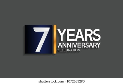 7 years anniversary celebration design with blue square and golden line isolated on gray background