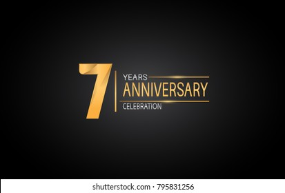 7 years anniversary celebration design with silver and gold color composition isolated on black background