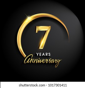 7 years anniversary celebration. Anniversary logo with ring and elegance golden color isolated on black background, vector design for celebration, invitation card, and greeting card