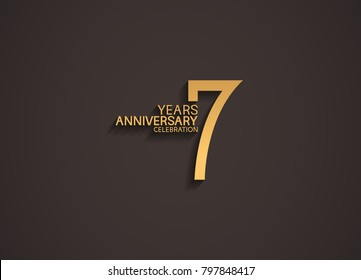7 years anniversary celebration logotype with elegant gold color for celebration