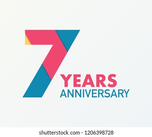 7 years anniversary emblem. Anniversary icon or label. 7 years celebration and congratulation design element. Vector stock illustration.