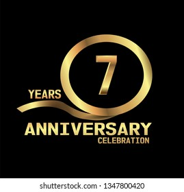 7 years Anniversary with golden font and circle with golden ribbon and black design. Simple design anniversary