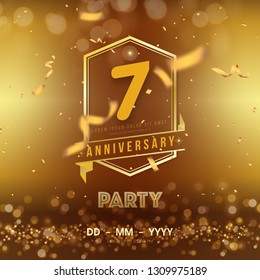 7 years anniversary logo template on gold background. 7th celebrating golden numbers with red ribbon vector and confetti isolated design elements