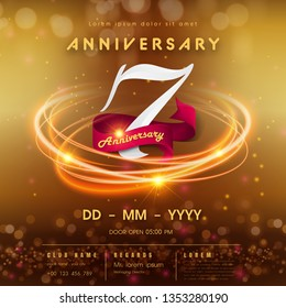 7 years anniversary logo template on golden Abstract futuristic space background. 7th modern technology design celebrating numbers with Hi-tech network digital technology concept design elements.