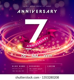 7 years anniversary logo template on purple Abstract futuristic space background. 7th modern technology design celebrating numbers with Hi-tech network digital technology concept design elements.