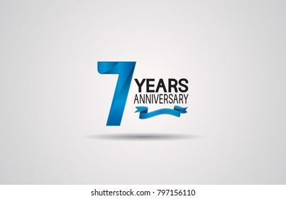 7 years anniversary logotype design with blue color and ribbon isolated on white background for celebration event