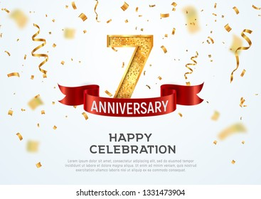 7 years anniversary vector banner template. Seven year jubilee with red ribbon and confetti on white background